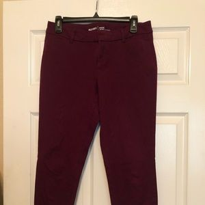 Old Navy Burgundy/Violet Pixie Mid Rise Pants